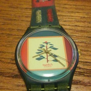 ⌚ Swatch Watch 90s 1993 Vintage Wristwatch Tree 🌴